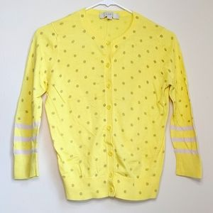 Loft Yellow Grey Polka dot Cardigan Small